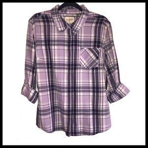 Lavender Plaid Long Sleeved Shirt / Flannel